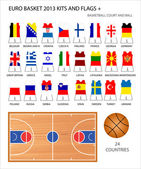 Euro Basket 2013 Kits and Flags — Stock Vector