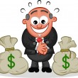 Stock Vector: Boss Cartoon with Money Bags
