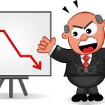 Business Cartoon - Cartoon Boss Man Angry at Chart — Stock Vector #22888464