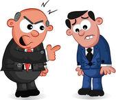 Business Cartoon - Boss Man Shouting at Employee — Stock Vector