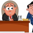 Stock Vector: Business Cartoon - Boss Mand Complaining Employee