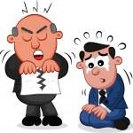 Business Cartoon - Boss Man Tearing Paper — Stock Vector #22952212