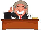 Business Cartoon - Boss Man with an Idea — Stock Vector