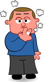 Cartoon Man Smoking a Cigarette — Stock Vector