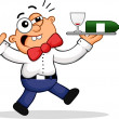 Royalty-Free Stock Vectorielle: Drunk Waiter Cartoon