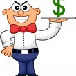 Sneaky Waiter Cartoon — Stock Vector