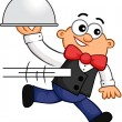 Running Waiter Cartoon - Stock Vector