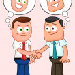 Shaking hands with both of them thinking sneaky thoughts. — Stock Vector