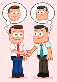 Shaking hands and thinking unhappy thoughts. — Stock Vector
