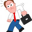 Cartoon Businessman Angry and Walking. — Stock Vector