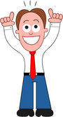 Cartoon Businessman Happy and Thanking God. — Stock Vector