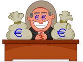 Patron adam ile para çantaları açgözlü. — Stok Vektör
