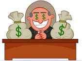 Boss Man Greedy With Money Bags. — Stock Vector