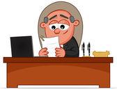 Happy Boss Man Looking Paper — Stock Vector