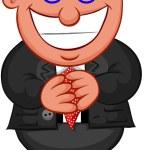 Business Cartoon - Man Greedy with Money Eyes — Stock Vector #27054117