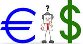 Cartoon Businessman With Euro and Dollar — Stock Vector