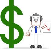 Мультфильм бизнесмен с доллар вниз — Cтоковый вектор