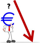Cartoon Businessman With Euro Head and Euro Value Down — Stok Vektör