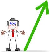 Cartoon affärsman giriga pengar ögon och eurons värde upp. — Stockvektor