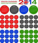 Calendar 2014 English. — Stock Vector