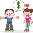 Telling Woman He Has Dollars — Stock Vector