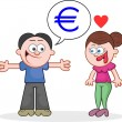 Stock Vector: Telling Woman He Has Euros
