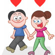 Holding Hands and Walking With Two Love Hearts — Stock Vector #30836415