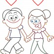 Holding Hands and Walking  — Imagen vectorial