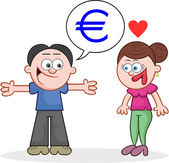 Telling Woman He Has Euros — Stock Vector