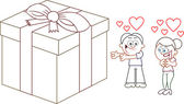 Offering Woman in Love a Big Present — Cтоковый вектор