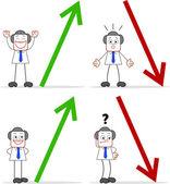 Empresario de dibujos animados con las flechas — Stockvector