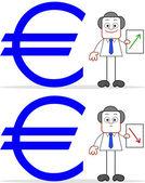 Dibujos animados de empresario con valor del euro hacia arriba y hacia abajo — Vector de stock