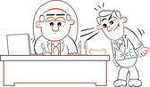 Boss Man Signing Papers with Employee — Stock Vector