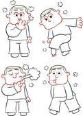 Smoking Man Cartoons — Stock Vector