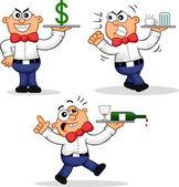 Cartoon Waiter Set — Stock Vector