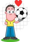 Cartoon målvakt kissing ball — Stockvektor