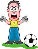 Cartoon Goalkeeper Shouting — Stock Vector