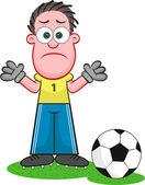 Cartoon Goalkeeper Sad — Stock Vector