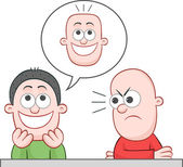 Friend Joking He Has Flat Bald Head — Stock Vector