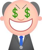 Funny Boss Greedy — Stock Vector