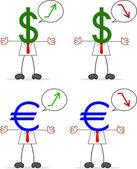 Businessman With Dollar Euro — Stock Vector