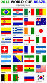 World Cup Brazil 2014 All Nations Vector Flags — Stockvektor
