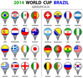 World Cup Brazil 2014 All Nations Vector Flags — Stock vektor