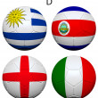 Soccer Championship 2014 Group D Flags — Stock Photo #37279699