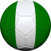 Nigerian Flag With Soccer Ball — Stock Photo