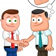 Shaking hands with one of them thinking sneaky thoughts. — Stock Vector