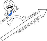 Businessman With Arrow Sign — Stock Vector