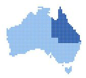 Map of Australia with map of Queensland — Stock Vector