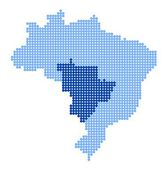 Map of Brazil with map of Central-West Region — Vetor de Stock