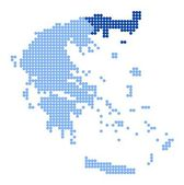 Map of Greece with map of East Macedonia and Thrace — Vettoriale Stock